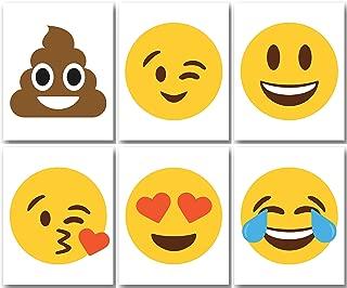 "Emoji Prints – Set of Six (6) Prints – Size 8""x10"" – Unframed Prints – Glossy Finish – Great Gift for all Kids"