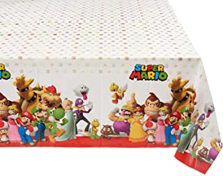 Amscan Swank Super Mario Brothers Birthday Party Plastic Table Cover Tableware Decoration, Multi Color, 54