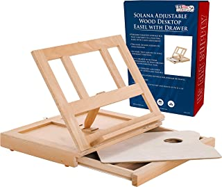 U.S. Art Supply Solana Adjustable Wood Desk Table Easel with Storage Drawer, Paint Palette, Premium Beechwood - Portable Wooden Artist Desktop, Board for Canvas, Painting, Drawing Sketching Book Stand