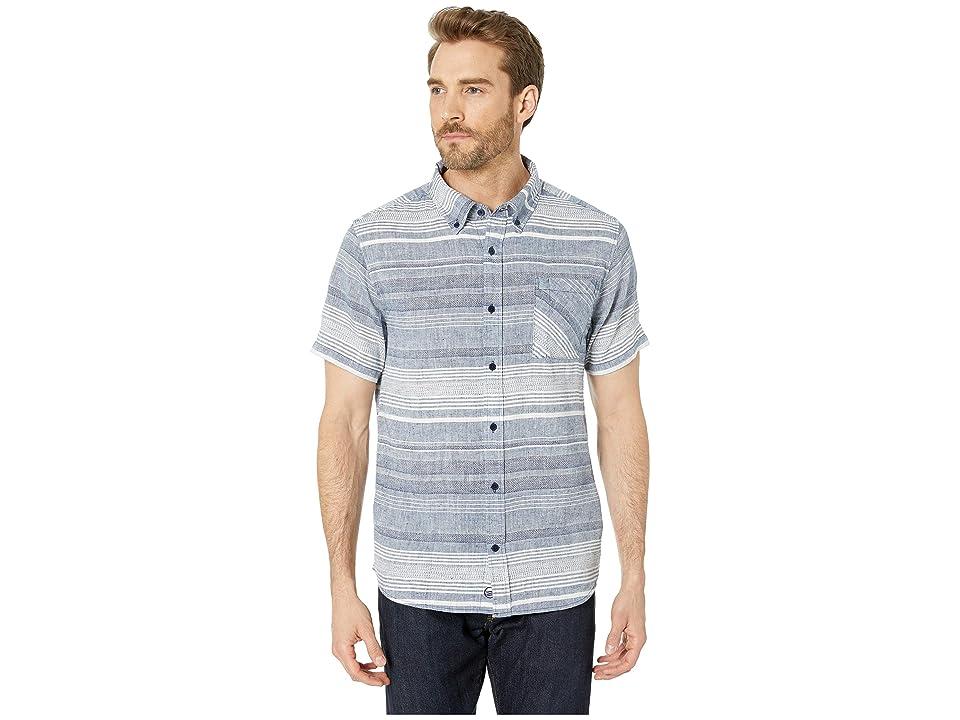 United By Blue Ridgerunner Short Sleeve Stripe Button Down (Navy) Men