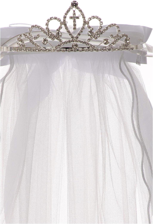 First Communion Flower Girls White Veil Tiaras Crowns