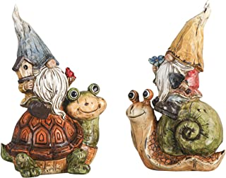 TERESA'S COLLECTIONS Garden Gnome Statue, Set of 2 Funny Gnomes Sitting on Snail and Turtle Figurine, Best Garden Art Stat...
