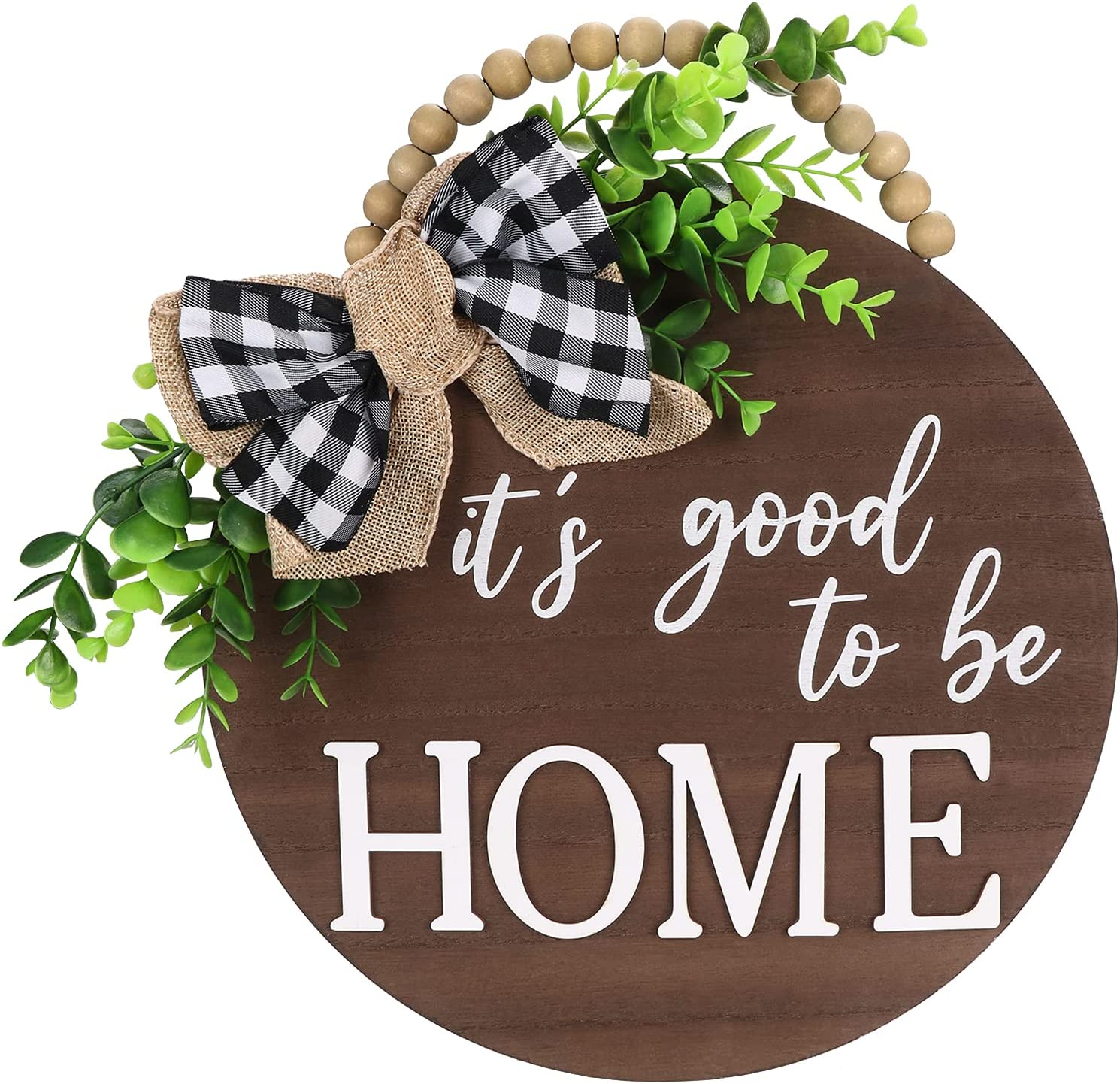Qmpro Welcome Sign Front Door Decor 3 D Lettering Porch Decor Wreath Farmhouse Wood Home Sign with Artificial Leaves and Rustic Beads Decoration for All The Seasons 12