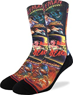 Mens B-Movie Horror Posters Crew Socks - Adult Shoe Size 8-13,Red