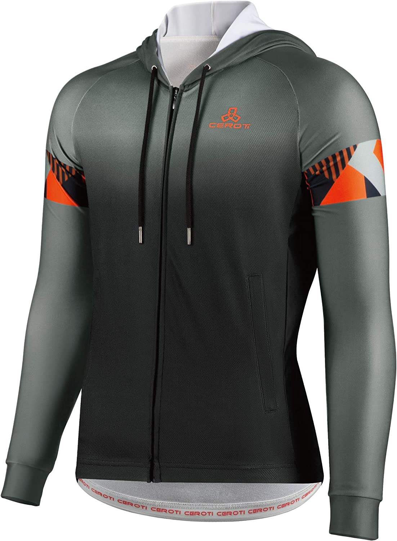 CEROTIPOLAR Men Thermal Long Sleeve Cycling Jersey,Fleece Bike Jersey