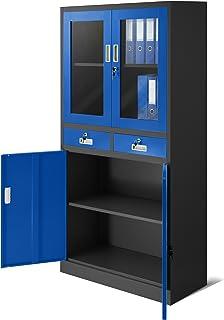 Jan Nowak by Domator24 Dossier C017 avec 2 Tiroirs Pharmacie Armoire de Bureau 2 Compartiments Revêtement en Poudre Tôle d...