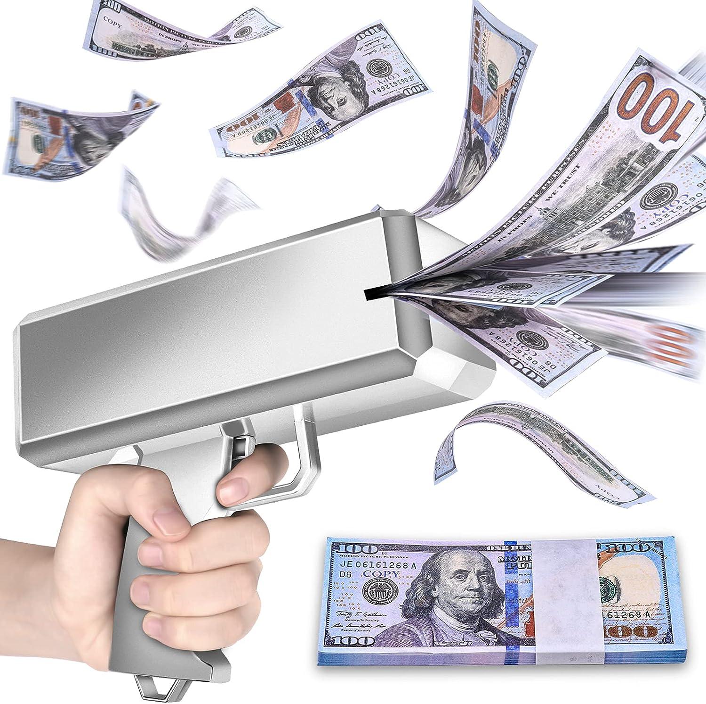 oMitoi Money Gun Shooter, Money Gun That Shoot Money, Money Spray Gun with Prop Money(100 Pieces), Make It Rain Money Machine Dispenser Gun (Grey Silver) : Toys & Games