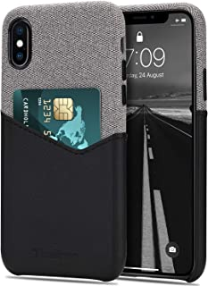 Tasikar Compatible with iPhone Xs Case/iPhone X Case Card Holder Slot Wallet Case Premium Leather and Fabric Design Compat...