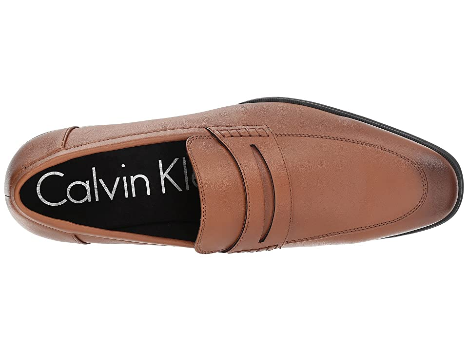 Calvin Klein Torrance (Cognac Nappa Smooth) Men's Slip-on Dress Shoes, Brown