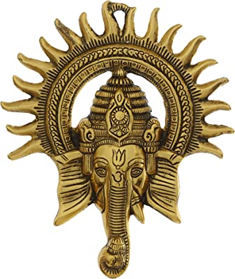 eCraftIndia AGG560 Lord Ganesha with Sun Decorative Metal Wall Hanging (one Size, Golden)