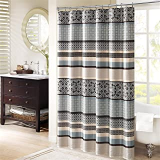 Madison Park Princeton Geometric Jacquard Fabric, Transitional Shower Curtains for Bathroom, 72 X 72, Blue