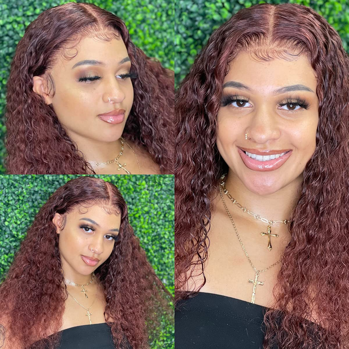 LuvMe Hair Red Brown Deep Wave Frontal Wig Human Hair 20X20 Lace Front Wigs  with Baby Hair Pre Pucked Curly Wigs for Black Women 20 Density 20 Inch