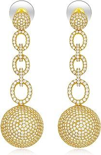 SHINCO Vintage 18k Gold Plated Circle Link Drop Earring Dangles CZ Diamond Wedding Jewelry