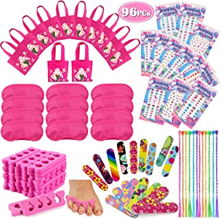 Tacobear 96PCS Spa Party Supplies for Girls Multiple Spa Party Favors for Kids Including 12 Tote Bags, 24 Emery Boards,12 Colored Hair Clip Braids, 24 Toe Separators, 12 Pink Spa Masks 12 Unicorn Nail Decal Sets