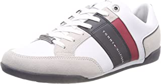 TOMMY HILFIGER Men's Mixed Material Leather Lace-Up Sneaker Trainers