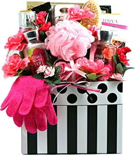 Mad About You, Deluxe Bath And Chocolate Gift Basket For Her - With Spa Quality Personal Care Products And Mouthwatering Chocolates (Small)