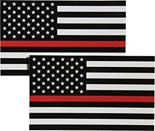 Thin Red Line Flag Decal - 3x5 in. Black White and Red American Flag Sticker for Cars Trucks and SUVs - In Support of Firefighters and EMTs (2-Pack)