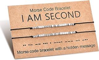 مجموعة أساور أساور من Shonyin Morse Code أفضل صديق سوار مجوهرات الصداقة هدية لأختين فتاة نساء رجال