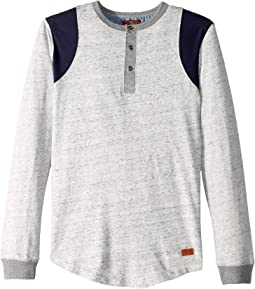 Space Dyed Jersey Long Sleeve Henley Pullover (Big Kids)