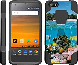 TurtleArmor | Compatible with ZTE Blade Force Case | ZTE Warp 8 Case | N9517 [Dynamic Shell] Hard Shell Impact Silicone Case Hybrid Shock Kickstand Ocean Beach - Coral Reef