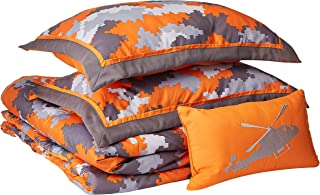 Mizone Lance 4 Piece Comforter Set, Orange, Full/Queen