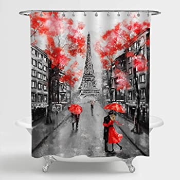"""MitoVilla Paris Eiffel Tower Shower Curtain for Paris Bathroom Decor, Vintage French Citysapce Oil Painting Bathroom Accessories, Paris Gifts for Women and Teen Girls, Red, Black, 72"""" W x 72"""" L"""