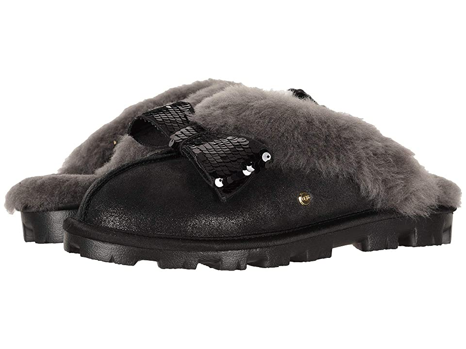 e3a16f435793 UGG Coquette Sequin Bow Slipper (Black) Women s Slippers