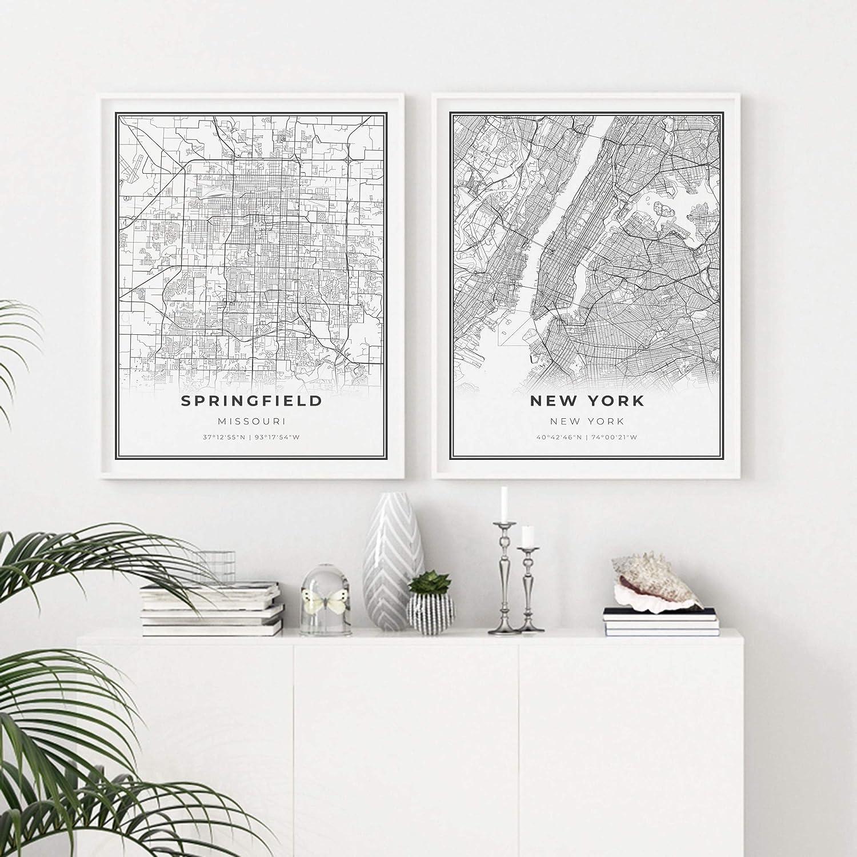 Buy Skanndi Springfield Map Print, Missouri MO USA Map Art Poster ...