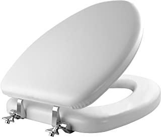 MAYFAIR Soft Toilet Seat with Chrome Hinges, ELONGATED, Padded with Wood Core, White, 113CP