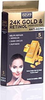 24K Gold and Retinol Under Eye Luxury Anti-Aging Treatment By Azure – Reduces Fine Lines and Wrinkles | Reduces Dark Circles Under Eye | Reduces Puffiness – 5 Pairs