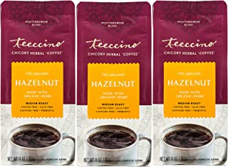 Teeccino Chicory Coffee Alternative – Hazelnut - Herbal Coffee | Ground Coffee Substitute | Prebiotic | Caffeine Free | Ac...