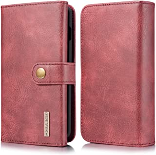Samsung Galaxy S10 Wallet Case, Cowhide Leather Folio Flip Wallet Cases with Detachable SlimCase for Samsung Galaxy S10 6.1 Inch [15 Card Slots][Built-in Stand] (Red)