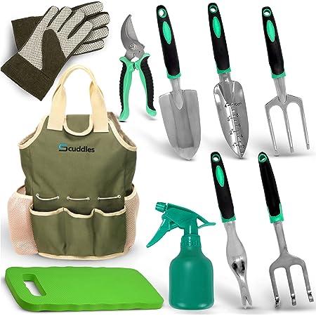 Scuddles Garden Tools Set - 10 Piece Heavy Duty Gardening Tools with Storage Organizer, Ergonomic Hand Digging Weeder, Rake, Shovel, Trowel, for Men & Women