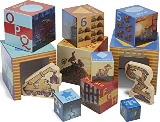 Goodnight, Goodnight, Construction Site Stacking Nesting Block Set with Wood Shaped Vehicles, 6