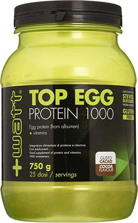 Proteine dell` uovo cacao 750g - top egg protein 1000 - +watt 8023826121157