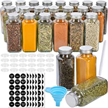 iBingo KSA Glass Spice Jars,24 PCS Empty Square Spice Bottles Containers with Shaker Lids and Airtight Metal Caps 144 Spic...