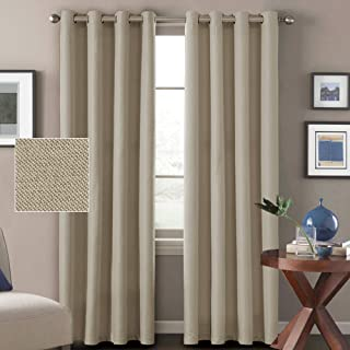 H.VERSAILTEX Linen Blackout Curtains 84 Inches Long for Bedroom Heavy Linen Curtains (2 Panels) Burlap Efffect Primitive Room Darkening Curtains for Living Room, 52 x 84 Inch-Light Taupe