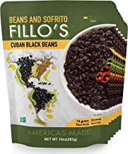 FILLO'S Cuban Black Beans, 6 count, Ready to Eat Sofrito & Beans, Made with Fresh Vegetables, Non-GMO, Plant Protein, Vega...