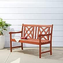 Vifah V1493 Outdoor Wood Garden Bench, Decorative, Brown