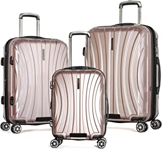 Olympia Phoenix 3-Piece Pc Exp. Hardcase Spinner Set W/Hidden Compartment, ROSE PINK