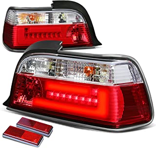 For BMW E36 3-Series 2-Door Pair of Clear & Red Lens 3D LED Bar Brake+Signal Tail Light