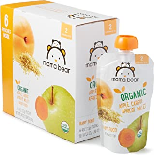 Amazon Brand – Mama Bear Organic Baby Food, Stage 2, Apple Carrot Apricot Millet, 4..
