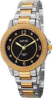 August Steiner Women's Fashion Watch - Textured Black Diamond Dial With Big Number Hour Markers on Two Tone Yellow Gold an...