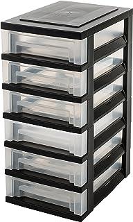 Iris Ohyama tour de rangement sur roulettes à 6 tiroirs - Smart Drawer Chest - SDC-360, plastique, noir/transparent, 42 L,...