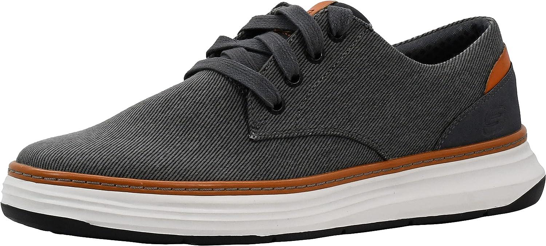 Skechers Men's Moreno Canvas Oxford Shoe Charcoal/Orange 12