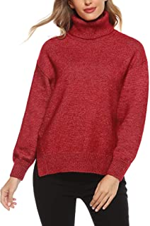 Woolicity Women's Oversized Turtleneck Sweater Long Sleeve Side Slit High Low Tops Cozy Casaul Loose Knit Pullover
