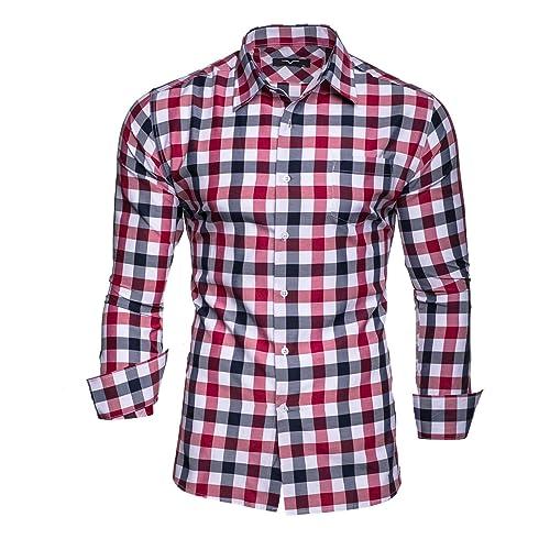 Herren Flanell Langarm Hemd Arbeitshemd Slim Fit Shirt Freizeit Hemd Karo S-4XL