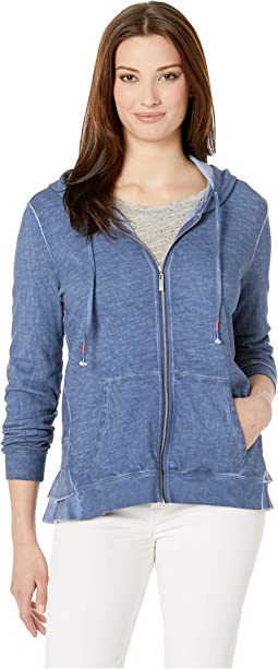 Slub French Terry Long Sleeve Hoodie with Ruffle
