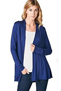 Women's Lightweight Open Front Soft Bamboo Long Sleeve Cardigan -Made in USA