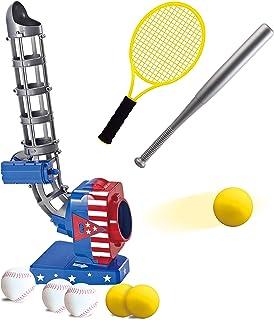 JOYIN 2 in 1 Baseball and Tennis Baseball Pitching Machine Automatic Pitcher Play Set Tennis Baseball Training for Kids Ou...